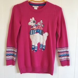 Maggie and Zoe Pink llama sweater!